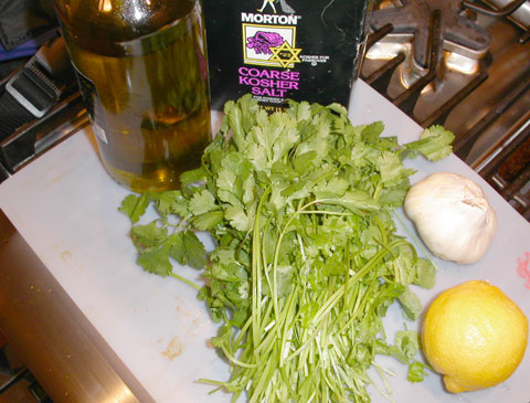 Photo of cilantro sauce ingredients copyright 2004 Owen Linderholm